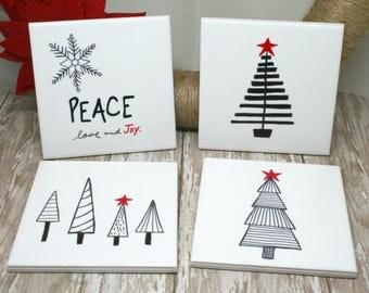 Christmas Coasters | Christmas Drink Coasters | Ceramic Tile Coasters | Drink Coasters | Hand-Drawn Coasters