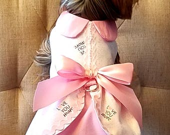 I Love You More Dog Dress, Dog Clothing, Dog Wedding Dress, Pet Clothing, Pet Clothing
