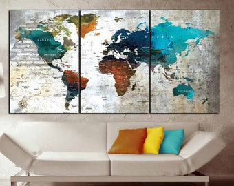 World Map Wall Art,World Map Canvas Print,World Map Print,Large World Map,World Map Watercolor,World Map Wall Decor,World Map Push Pin,Map