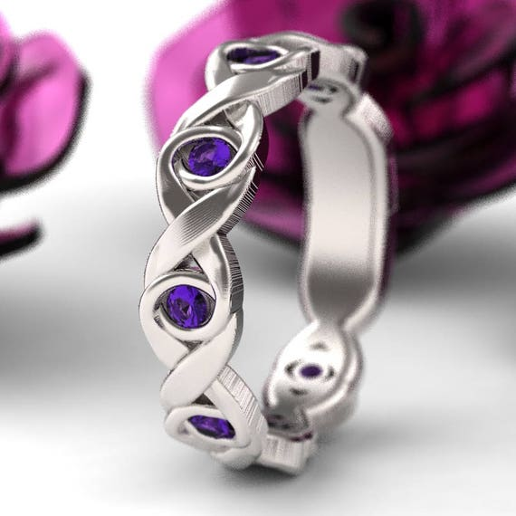 RESERVED FOR Stephanie Celtic Alexandrite Wedding Ring With Infinity Knot Design 14K Gold, Alexandrite Celtic Knot Ring, Custom Size 1107