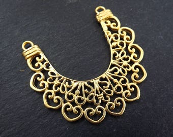 NEW Large Lace Crescent Pendant Connector 22k Matte Gold Plated Turkish Jewelry Making Supplies Findings Component