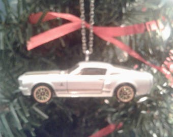 Hot Wheels Christmas Ornament 1968 Shelby GT 500 Ford Mustang White Gold Stripes Tree Decoration Muscle Car Gift for Him Stocking Stuffer