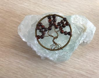 Tree of Life Pendant, Red Tiger Eye Gems, Reiki Pendant, Healing Jewelry, Tree of Life Pendant, Wire Tree Pendant, Wire Wrapped