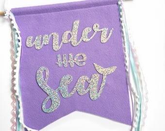 Under the Sea Glitter Banner | Home Decor | Wall Art | Mermaid Party | Under the Sea | Mermaid Room | Mermaid Decor | Under the Sea Party