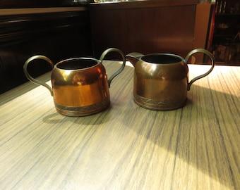 Vintage Copper Sugar and Creamer
