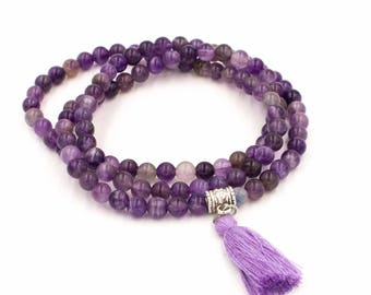 Amethyst Gemstone Mala Meditation Beads Necklace or Bracelet Wrap