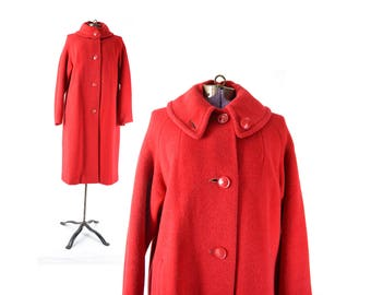 Red Coat,  1960s Coat, Red Vintage Coat, 60s Coat, Womens Vintage Coats, Wool Coat, Swing Coat, Trapeze Coat, Winter Coat