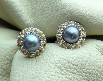Cultured Pearls with Yellow Sapphire Pave Halo Border Stud Earrings 18k White Gold Very Petite Style