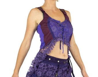 ON SALE Lace dovetail tunic with corset in front and back, purple, steampunk, victorian, cabaret, theatre, festival, Burning man, bulesque,
