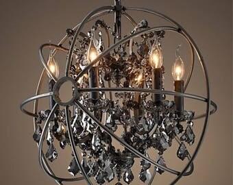 "22"" black orb chandeleir"