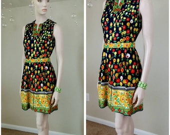 vintage 60s handmade colorful Short Mini Mod Hippie dress