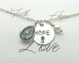 Brain cancer awareness necklace,Brain tumor awareness,Awareness christmas gift,Hope for brain cancer awareness,Awareness gift,Gray hope