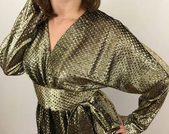Vintage gold blouse longline peplum gold lamè woven evening blouse 1980s UK 10 glam wide shoulder cocktail sparkly handmade