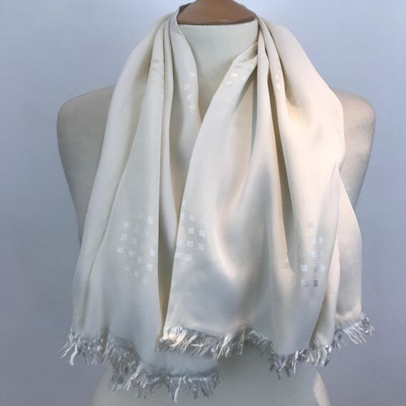Silk evening Scarf white tuxedo scarf woven cube pattern long oblong tassel hem Mod vintage gent cravat 40s Goodwood scooter 1950s