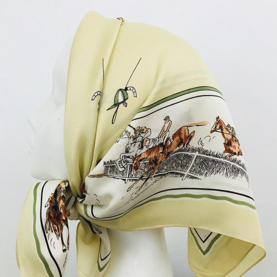 Vintage scarf novelty print square pale yellow 1950s horse racing scene horses race track accessory headscarf 50s scarf