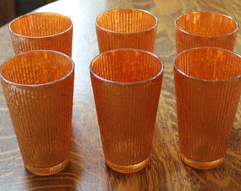 Antique Carnival Glass Miragold Bark l12 oz. Tumblers, glasses, vintage, excellent and beautiful