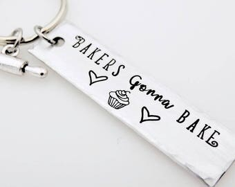 Pastry Chef, Cook, Chef gift, Handstamped Keychain, Gift for Professional Cook, Cake Maker, Cupcake, Rolling pin, Kitchen, Culinary Student