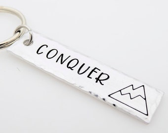 Mountain Climber, Cragsman, Cragswoman, Hiker, Outdoor Enthusiast, Handstamped Keychain, Camping, Outdoors, Nature,  Conquer the mountain