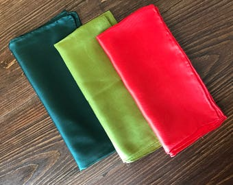 Set of 3 Silk Vintage Hand Rolled Edges Pocket Squares