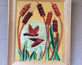 """Rare 70's Pipe Cleaner Art, Geese and Cattails, 16.5"""""""