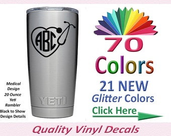 Yeti Monogram Cup, Vinyl Monogram Decal for Yeti, Yeti Tumbler Monogram, Yeti Decal Monograms Stickers, Monogram Yeti DECAL ONLY  (01D)