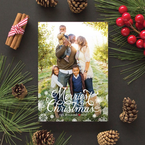 Christmas Photo Card, Full Bleed Photo, 5x7 Holiday Cards with Snowflakes, Holiday Greeting Card - Merriest