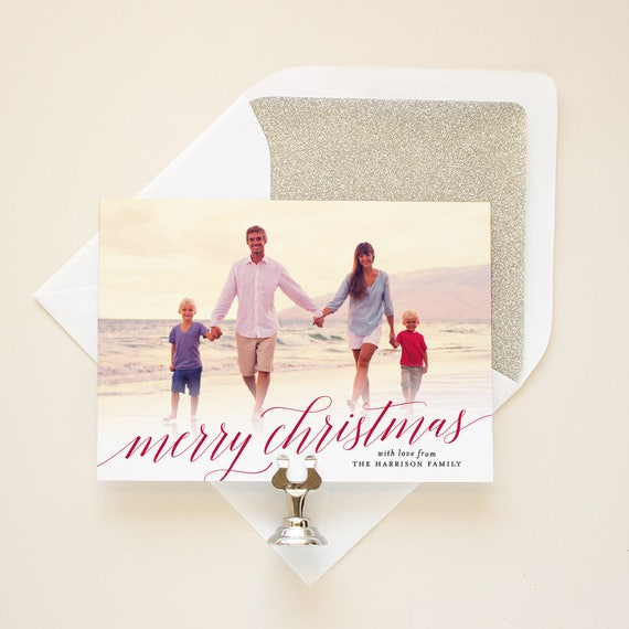 Family Photo Card, Modern Calligraphy Merry Christmas, Personalized Christmas Cards, Full Bleed Photo Holiday Cards - Christmas Script
