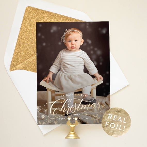 Baby's First Christmas Card with Foil Pressed Snowflakes, Gold Foil Christmas Cards for Kids, Elegant Christmas Cards with Photo | Glisten
