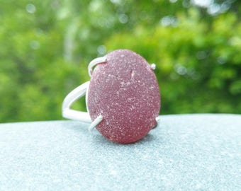 Large deep red sea glass & sterling silver ring// Size 10