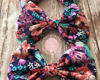 Navy Floral Print Bow