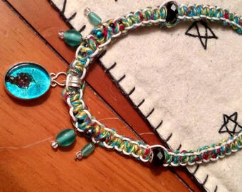 Colorful hemp necklace with blue glass pendant and beads bohemian hippie