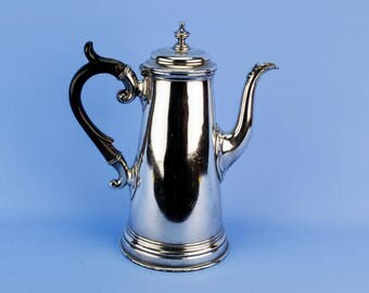 Tapered Silver Plated Coffee Pot Wooden Handle Antique English Victorian James Dixon circa 1900 Scrolls Large
