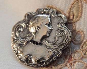 Art Nouveau Beautiful Woman - Silvered Brass Button - Missing Stones