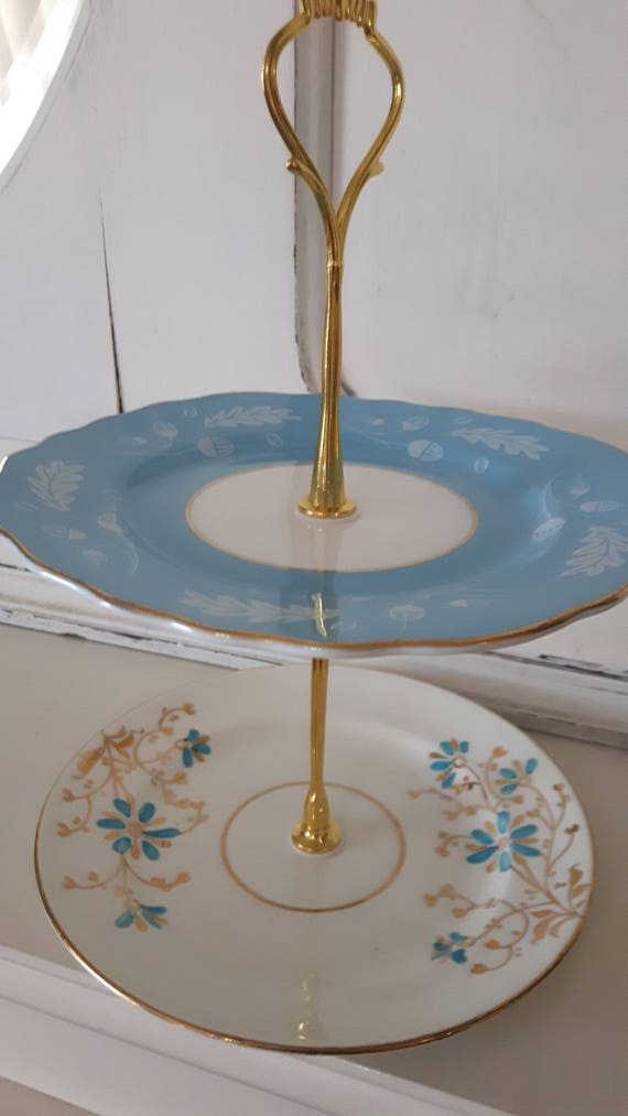 Vintage china cake stand, trinket stand, gorgeous blue and gold floral design