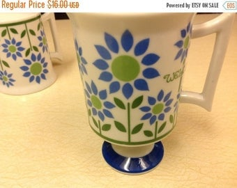 4th of July sale Three Royal Crown Mugs -  Welcome Pattern by Pia Pedestal Coffee Mugs Vintage Mugs Vintage Cups