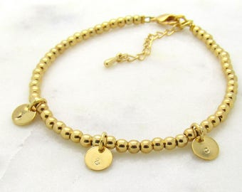 Gold Plated Beaded Bracelet With Coins- Custom Personalized Bracelet-Initial Bracelet- Bridesmaid Gift- Add As Many Coins As You Like