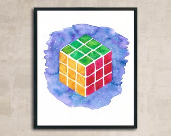 PRINT Rubik's cube Watercolour Painting 8 x 10 or 11 x 14
