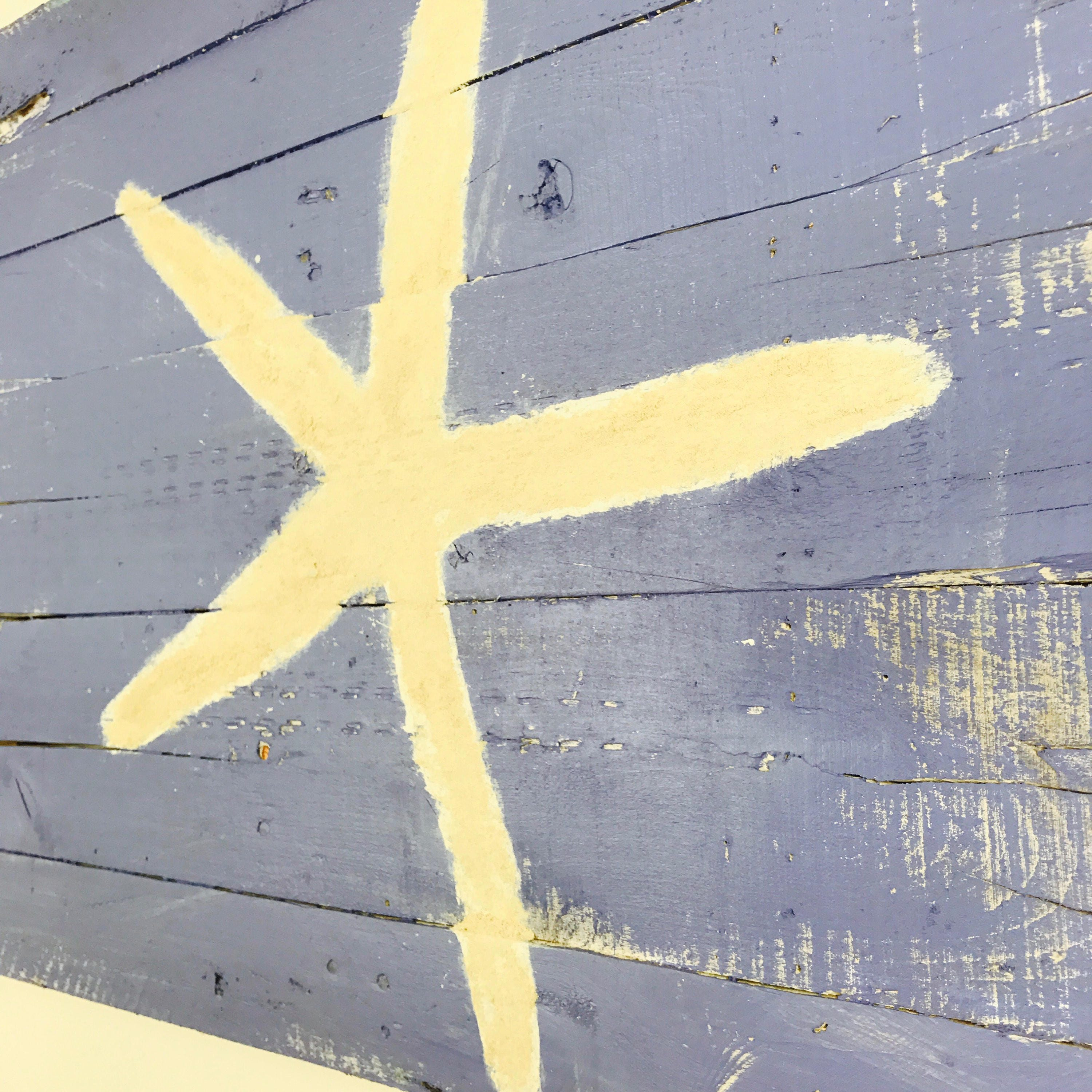 Beach Decor Starfish Ready to Ship Wall Hanging Periwinkle Rt ...
