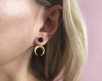 Moon earrings,gold ear jacket,sterling silver earrings,black onyx earrings,gold moon earrings,ear cuff,Taurus earrings,crescent horn earring