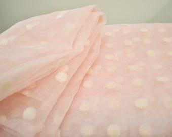 """1950's Vintage Sheer Pink Netted Nylon with Snowflake Flocked 1 yards 18"""" by 44"""" wide Little Girl Sheer Full Skirt Material"""