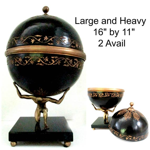 Maitland Smith Statue, Man Holding Orb, With Secret Storage, Large Heavy, Statement Piece, 2 Available