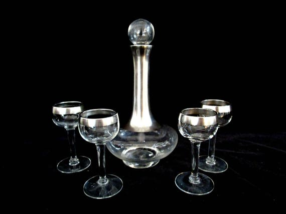Authentic Dorothy Thorpe Liquor Set, 6pc Set, Allegro Pattern, Mid Century Barware, Wedding Gift, Ships Free