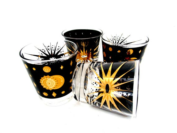 Mid Century Barware, Fred Press, Set of 4 Lowballs, Starburst Eclipse, Black Gold Barware, Excellent Condition, 8 Avail