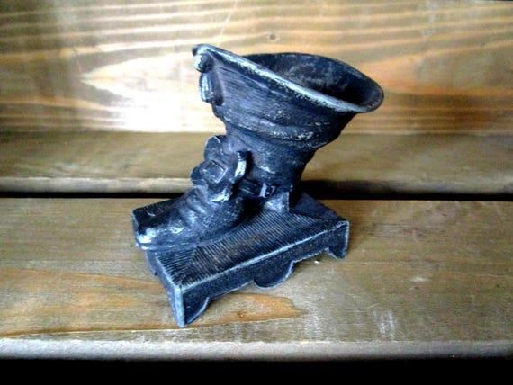 Vintage Match Holder, Swashbuckler Boot, Kitchen Match Holder, Cast Metal