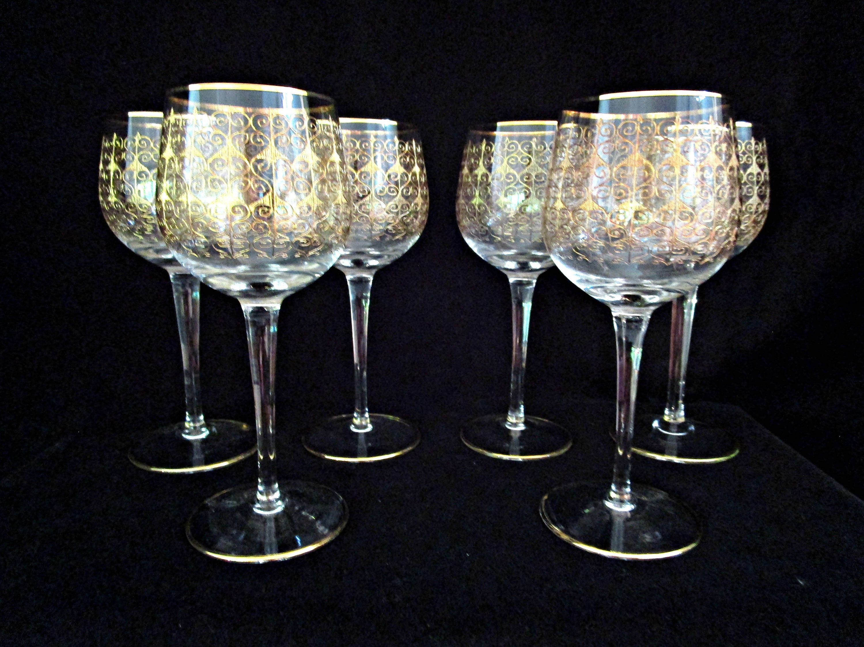 Set Of 6 Wine Glasses Bohemia Crystal Mid Century Czech