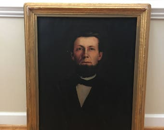 "Antique Victorian Oil Portrait of George Sieley circa 1875  Portland Maine 28"" x 34"""