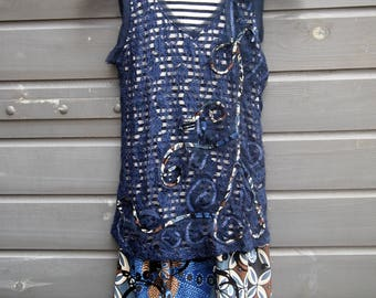 Double Top, Lace Top, Boho Top, Handmade Mini Dress, Tunic, Size M, Double Layered Top, Feminine Top,Summer Tunic, Blue Tunic, Mixed Fabric