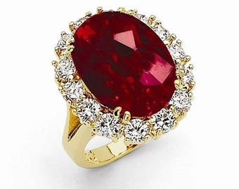 Jackie Kennedy 24K GP Ring - Large Red Simulated Ruby with Box and Certificate