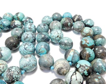 Rare Antique 12mm Chinese Turquoise Beads Necklace