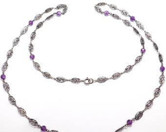 Antique 800 Silver Filigree Long Chain With Amethysts